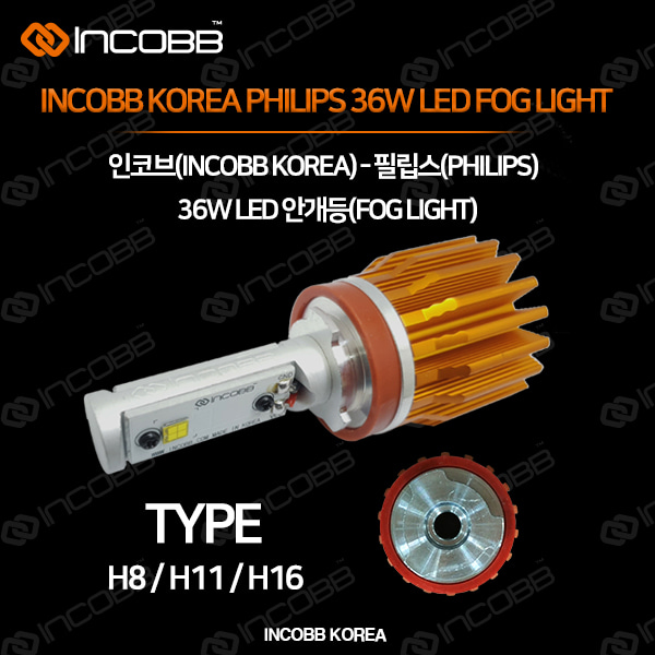 인코브(INCOBB KOREA) 필립스(PHILIPS) 36W LED 안개등(FOG LIGHT) H8 H11 H16